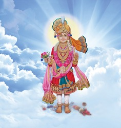 Hindu God Swaminarayan Standing Sky Background