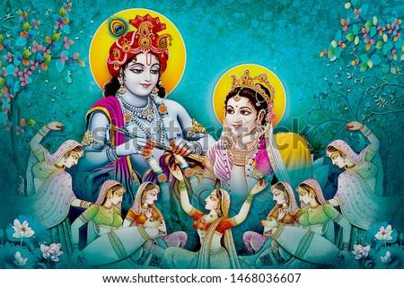Hindu Lord Radha kishana texture wallpaper background