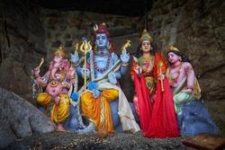 Hindu statues of gods at the Thirukkoneswaram Kovil (New Temple) in Trincomalee, Sri Lanka