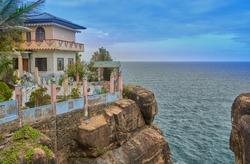 hindu temple in cliff on Trincomalee, Sri Lanka