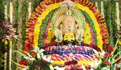 Hindu Temple of God Khatu Shyam in Rajasthan, India. Khatu Shyam is a name and manifestation of Barbareek, grandson of Bhim and Hidimba in Mahabharata. Photo/Sumit Saraswat