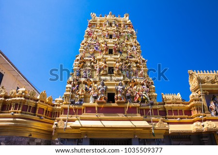 Hindu temple tower in Colombo. Sri Lanka.