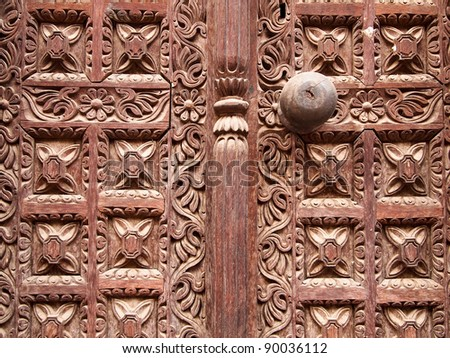 hindu temple wooden carved door, bhaktapur, Nepal