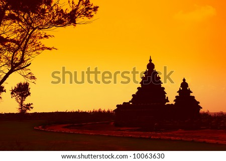 hindu temples at the coast of mahabalipuram, india, at sunset or sunrise