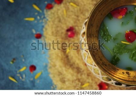 Hindu traditional Kalasa pot with water royalty free stock images