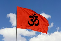 Hinduism flag isolated on sky background with clipping path. close up waving flag of Hinduism. flag symbols of Hinduism.
