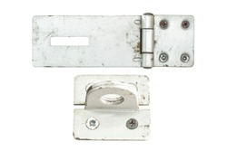Hinge Safety Hasp isolated on white. This has clipping path.