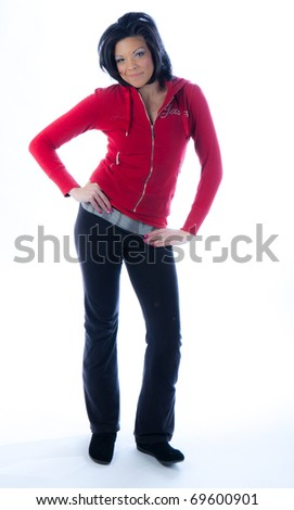 Hip African American woman in red pullover