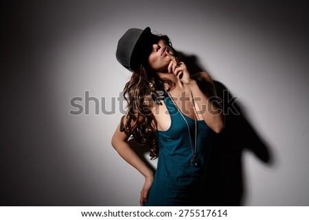 hip hip girl in dark studio #275517614