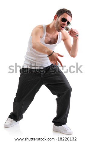 Hip hop artist isolated against white background