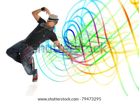 Hip hop dancer performing with light painting isolated over white background