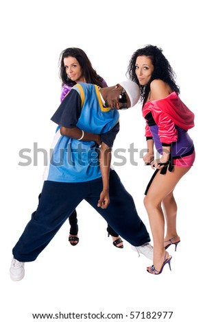 Hip-hop dancing team of male and two girls posing on white background