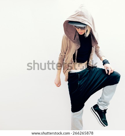 Hip Hop Girl Urban dance style in clothes