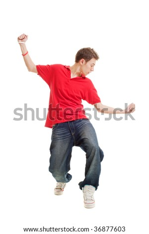 hip-hop guy dancing. isolated on white - stock photo