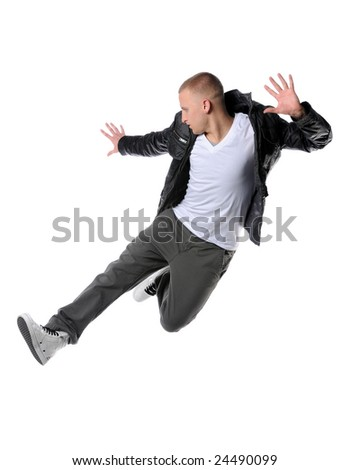Hip hop man jumping isolated
