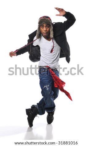 Hip-Hop style dancer performing isolated on a white background