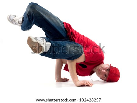 hip-hop style dancer posing on isolated background