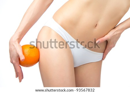 Hip, legs, abdomen and orange in hand cellulite liposuction woman weight loss control concept isolated against white background