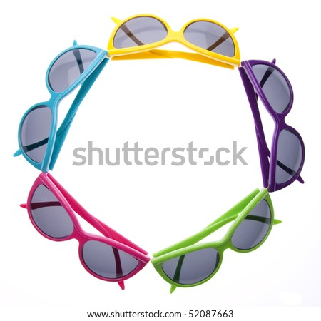 Hip summer sunglasses isolated on white with a clipping path.