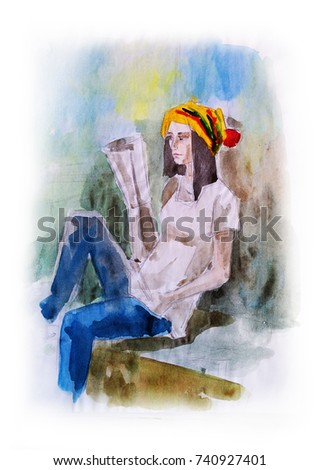 Stock Photo Hippie boy sit, hand drawn watercolor illustration