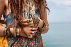hippie girl outdoors close up