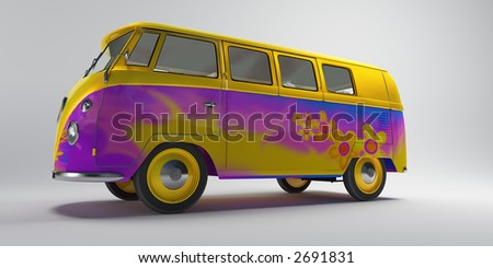hippie van with psychedelic colours