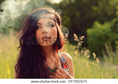 Hippies girl in the nature