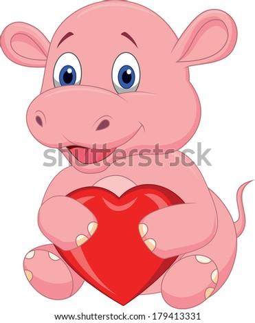 Hippo cartoon holding red heart #179413331