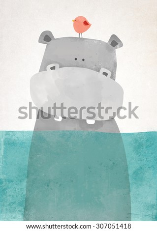 Hippo in water illustration art