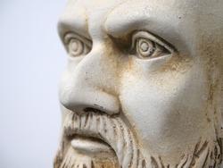 hippocratic bust portrait, sculpture face close up