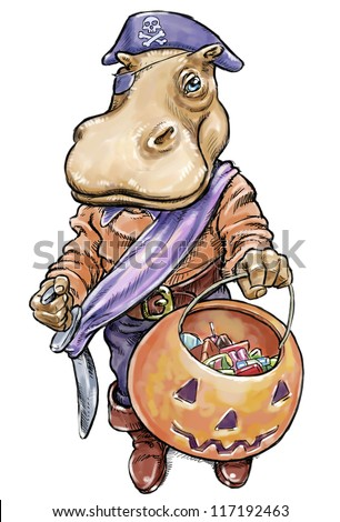 Hippopotamus dressed in pirate costume for Halloween - Trick of Treating