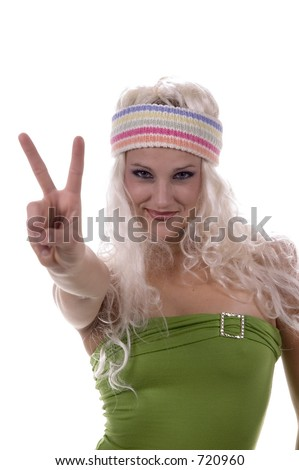 Hippy Chick Giving Peace Sign