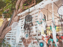 Hippy market in Ibiza, Spain. Dreamcatcher and typical hippy crafts, handmade in the markets of the island