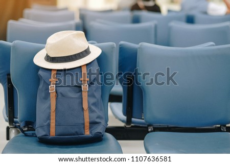 hipster blue backpack with hat...