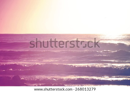 Hipster color surfing summer time at shorebreak beach. Chill out concept background.