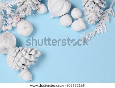 Hipster conceptual minimalist christmas and new year background. Pine cones and branches, physalis flowers. White objects on a blue background with space for greeting text #503662165