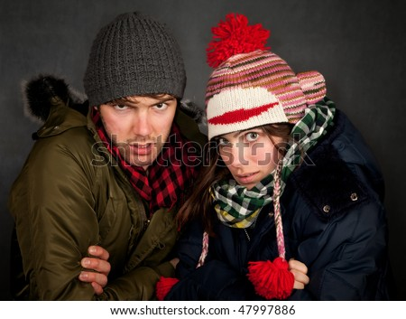 Hipster couple in clothing for cold weather
