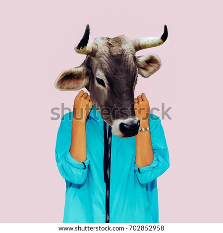 Hipster Cow Minimal collage art. Surreal design