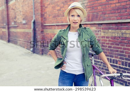 hipster cyclist young beautiful ...