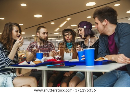 Hipster Friends In Mall Eating Fast Food #371195336