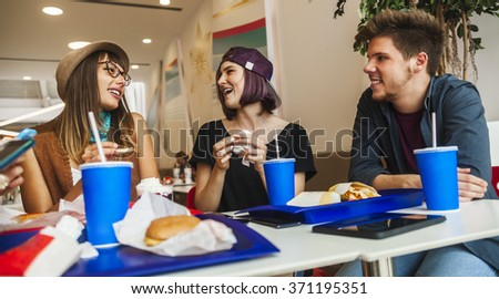 Hipster Friends In Mall Eating Fast Food #371195351