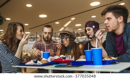 Hipster Friends In Mall Eating Fast Food #377035048