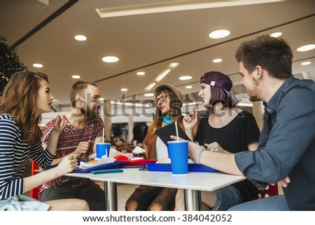 Hipster Friends In Mall Eating Fast Food #384042052