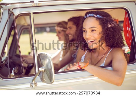 Hipster friends on road trip on a summers day #257070934