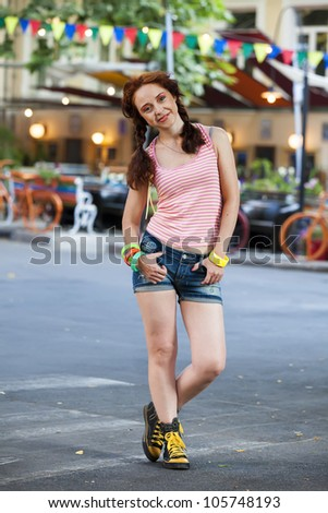 Hipster girl at the street.