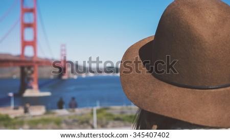 Hipster Girl Looking at Golden Gate Bridge #345407402