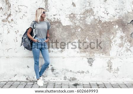 hipster girl wearing blank gray ...
