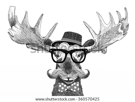 hipster glasses on moose, with hat, big handlebar mustache and polka dot bow tie, cartoon animal fashion statement, fun moose illustration is hand drawn, moose cartoon for trendy hipster lifestyle
