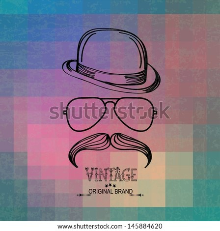 Hipster grunge Retro background with geometric shapes, hat, glasses and moustaches