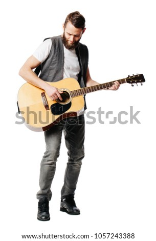 Hipster guitar player man isolated on white